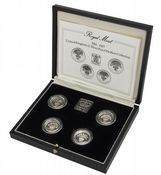 1984-1987 4 x Silver Proof Piedfort One Pounds